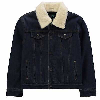 Firetrap Kids Boys Lined Denim Jacket Junior Coat Top Cotton Chest Pocket
