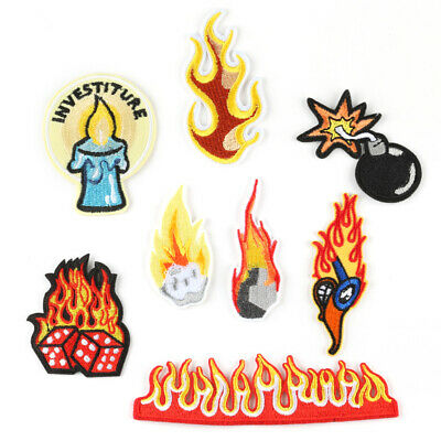 DIY Embroidered Flame Sew Iron On Badge Patches Clothing Fabric Craft Applique