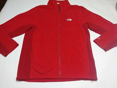 The North Face Men's Red Full Zip Fleece Jacket with Zipped Pocket Size Large