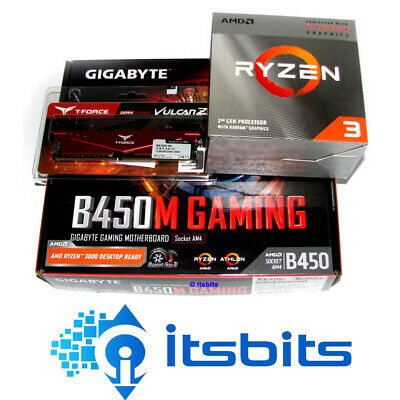 GIGABYTE B450M GAMING + AMD RYZEN 3 3200G 3.6Ghz QUAD CORE + 8GB 2666 DDR4 RAM