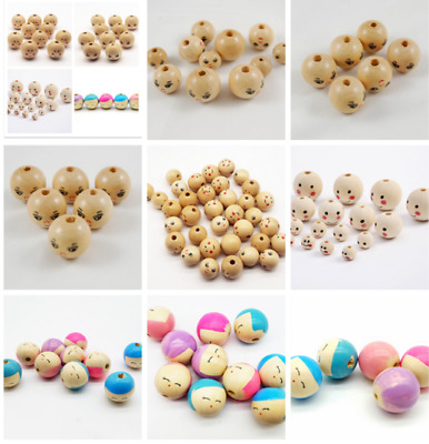10X Wood Bead Heart//Smiley//star//Crown Round Bead Baby Pacifier Clip Accessories