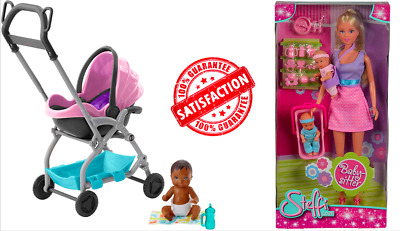 Skipper Babysitter Baby Doll Pink Stroller Removable Seat Playset Toys Kids Gift