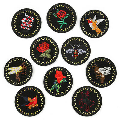 DIY Embroidered Black Rose Sew Iron On Badge Patches Clothing Fabric Applique