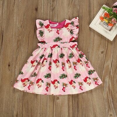 Toddler Baby Girls Christmas Xmas Santa Claus Flared Swing Party Dress Clothes