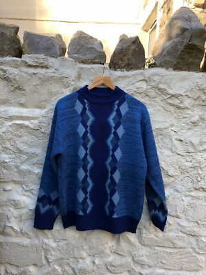 Vintage 80s / 90s Blue Patterned Jumper Sweater Pullover Tootal size L / XL (d)