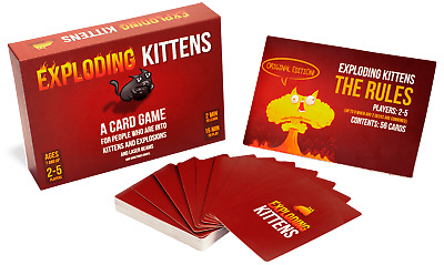 Exploding Kittens Cards Game Board Popular for Family Party Friend Playing Red