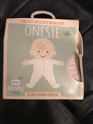 Boody Baby organic bamboo Long Sleeve One Piece Way Zipper 6-12 Months RRP$35