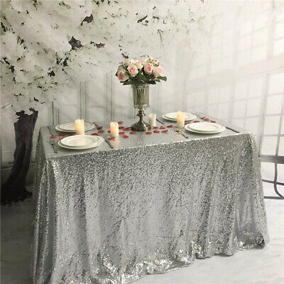 """YZEO 60x120inch Silver Sequin Tablecloth for Wedding Party 60""""*120"""","""