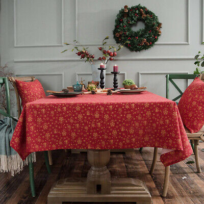 Aonewoe Cotton and Line Blended Rectangular Tablecloth for 140x200cm, Red