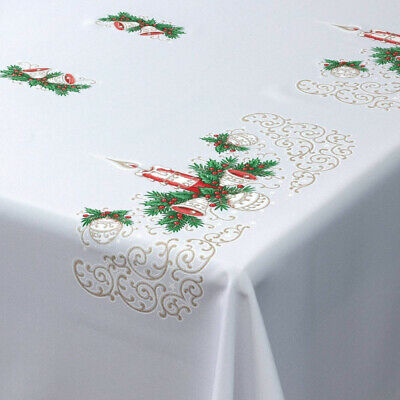 """Christmas Tablecloth White Xmas candle Red Gold 57"""" x 118"""" (145cm x 300cm)"""