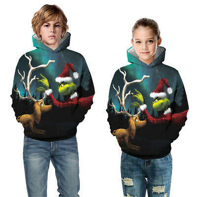 Childrens Kids Girls Boys Unisex Holiday Christmas The Grinch Sweatshirt Hoodie