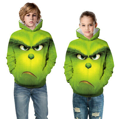 Childrens Kids Girls Boys Unisex Holiday Christmas Funny Grinch Sweater Hoodie