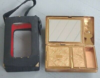Vintage Elgin American Compact  Mirror  Purse Carrying Case  Usa