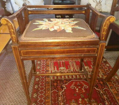 Edwardian  Inlaid Mahogany Piano Stool with Lift Up Lid and needlepoint top