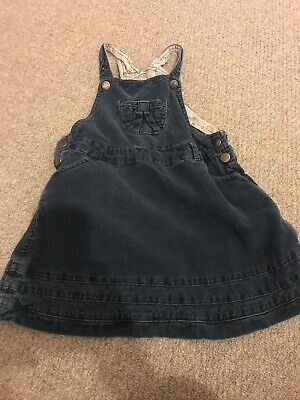 Lovely *JOJO MAMAN BEBE* Girls Navy Cord Dungaree Dress - 3-4 Years - GUC