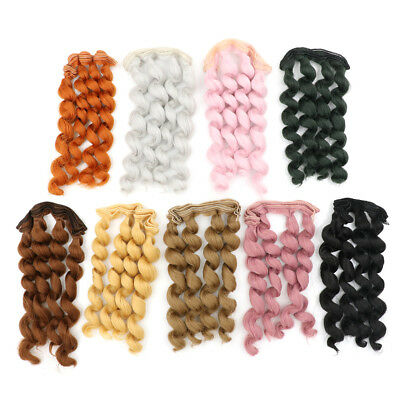 15cm x 100cmnatural color curly doll wigs hair DIY for 1/3 1/4 1/ F_X