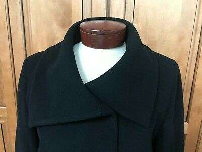 Cole Haan Womens Black Wool Cashmere Blend Long Coat Size 12 Made In Poland