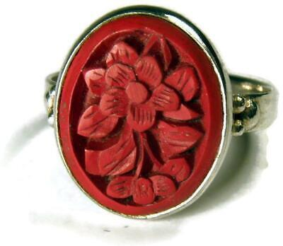 1920s Chinese Export Sterling Silver Floral Carved Cinnabar Ring Size 6