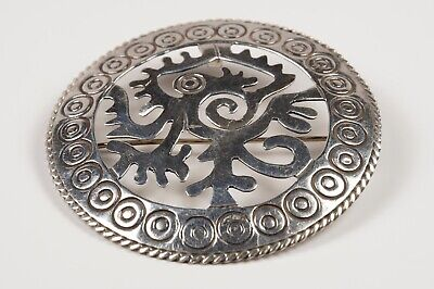 Aztec Ozomatli Monkey Pin Brooch Pendant 925 Sterling Silver Taxco Mexico
