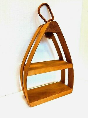 Mid Century Danish Modern Bentwood Tear Drop Plant Holder Hanging Shelf Vintage