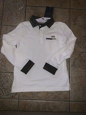 Boys Polo Top Long Sleeve White & Grey Mayoral Age 8 Years BNWT