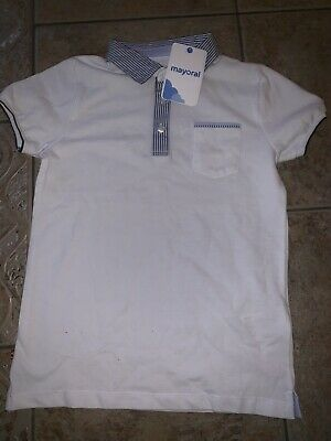 Boys Polo Top  White & Blue Mayoral Age 9 Years BNWT