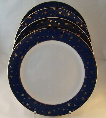 Sakura Holiday Dinnerware (4) Galaxy Blue Dinner Plates Fine Porcelain 14K Gold