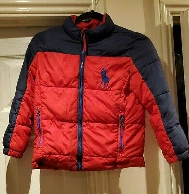 Polo Ralph Lauren Red/Navy Down Puffer Jacket Boys age 7 Big pony excellent!