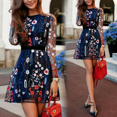 Summer Womens Ladies Dress Embroidery Tulle Floral Party Casual Beach Dresses