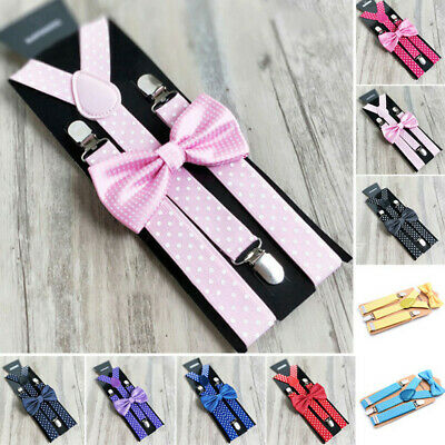 Children Suspenders Toddlers Wedding Clip On Suspenders Boys Party Bow Tie