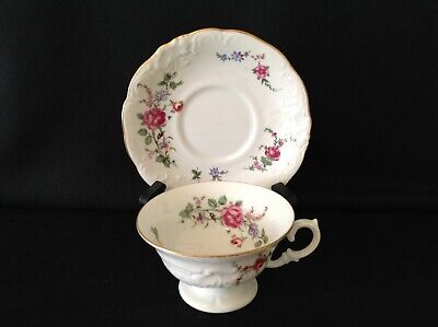 Walbrzych Sheraton Rose One (1) Footed Tea Cup & Saucer Set Wawel Poland