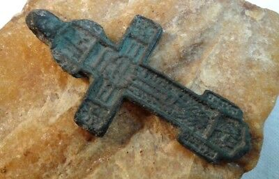 RARE ANTIQUE c.15-17th CENTURY RUSSIAN NORTH ORTHODOX LARGER SWORD-SHAPED CROSS