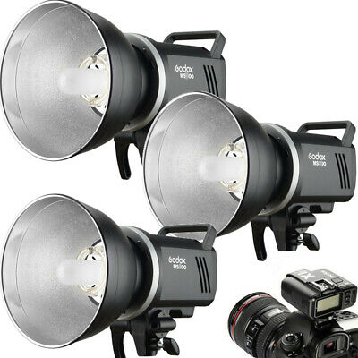3Pcs Godox MS200 200W 2.4G Wireless Studio Strobe Flash + Reflector + Trigger