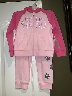 NWT Toddler Girls Healthtex Pink Two Piece Cat Meow Jacket/Sweat Suit (2T)