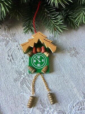 Cute Vintage WOOD CUCKOO CLOCK Hanging Christmas Ornament w/ Chains & weights
