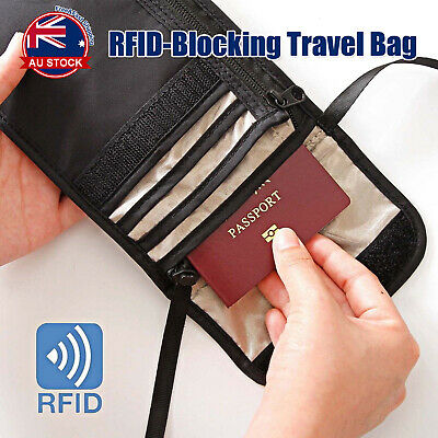 RFID Blocking Passport Card Holder Neck Stash Pouch Security Travel Wallet Bag D