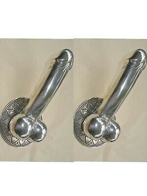 "2 large SILVER penis DOOR PULL or HOOK hollow 100%  brass 9 "" handle hand made B"