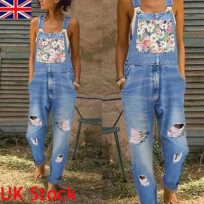 UK Women Ladies Floral Denim Dungarees Jumpsuit Casual Slim Fit Overalls Rompers