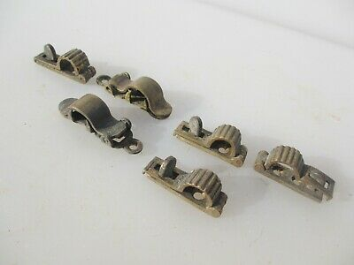 Victorian Brass Stair Rod clips Old Antique Carpet Clips Job lot x6