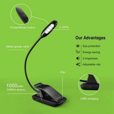 Portable LED USB Rechargeable Stand Light Clip On Desk Bed Reading Book Lamp AUS
