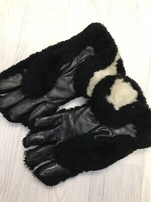 Original Vintage 1940s 30s Beaver Lamb Leather Fur Ladies Gents Blk Gloves