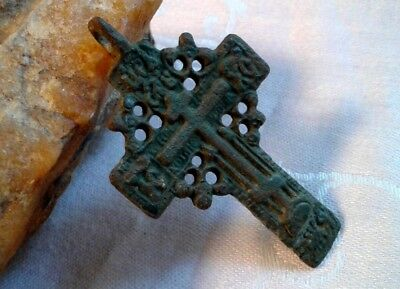 "RARE ANTIQUE c.18-19th CENTURY LARGE ORTHODOX ""OLD BELIEVERS"" ORNATE ""SUN"" CROSS"