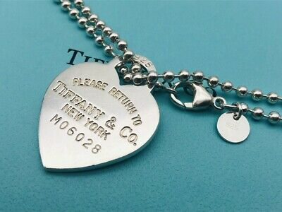 """Auth Tiffany & Co. Necklace Return To Heart Ball Chain Sterling Silver 32"""" O69"""