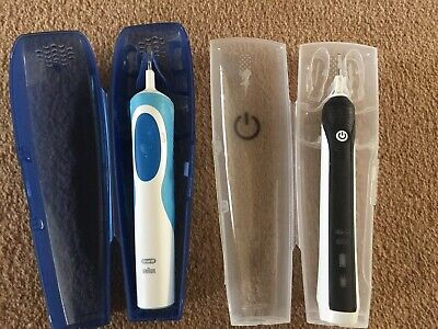 Two Used Braun Oral B Toothbrushes w/ Cases HANDLES ONLY Weak Battery No charger