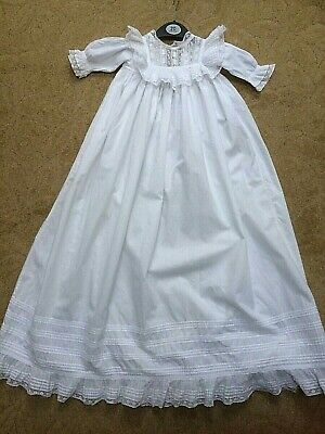 Vintage/Antique Cotton Lawn Christening Gown Lace Frill PinTuck Yolk Doll Bears