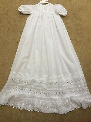 Antique Christening Gown Dress Broderie Anglaise Lace Doll Baby Vintage