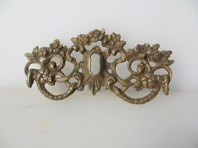 Victorian Brass Escutcheon Keyhole Plate Old Hardware French Rococo Antique