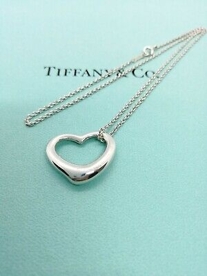 Authentic Tiffany & Co. Open Heart Medium Pendant Necklace Sterling Silver 16