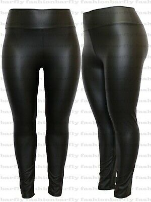 Ladies Faux Leather Womens Plus Size Wet Look Pu Jeggings Leggings