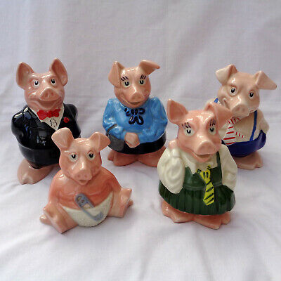 Wade Natwest Pigs Family of 5 Piggy Bank Money Boxes Original Stoppers